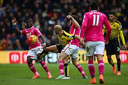 Max Gradel of Bournemouth and Nordin Amrabat of Watford battle for the ball - Mandatory byline: Jason Brown/JMP - 27/02//2016 - FOOTBALL - Vicarage Road - Watford, England - Watford v Bournemouth - Barclays Premier League