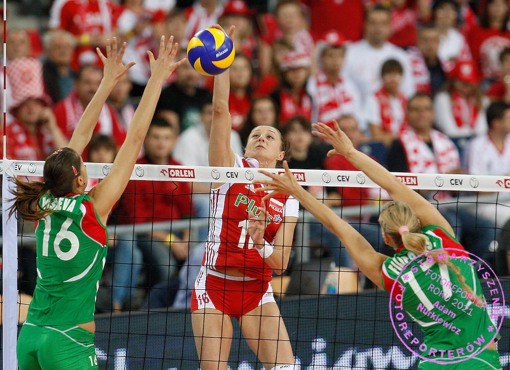 LODZ 01/10/2009.Women's European Volleyball Championships.Play off match.Poland v Bulgaria.Aleksandra Jagielo of Poland ..Photo by: Piotr Hawalej/WROFOTO