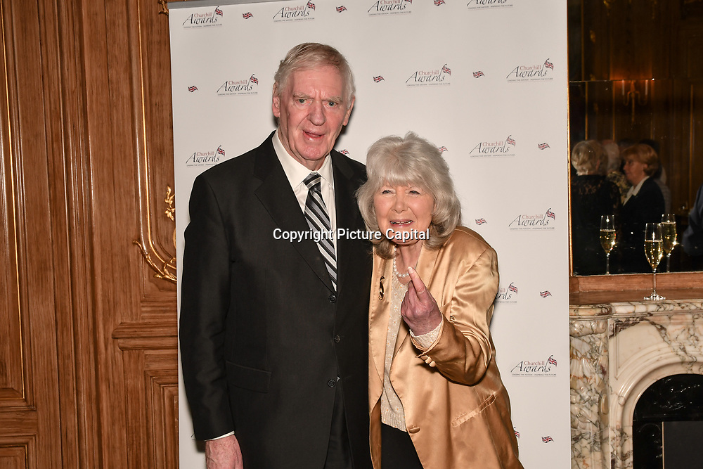 Lawrie McMenemy and Jilly Cooper attend the 7th annual Churchill Awards honour achievements of the Over 65's at Claridge's Hotel on 10 March 2019, London, UK.