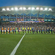 The Philadelphia Union and The Houston Dynamo on the field during the singing of national anthem. The Dynamo and The Philadelphia Union played to a 1-1 tie. Saturday Aug. 6, 2011. at PPL Park in Chester PA...The News Journal/SAQUAN STIMPSON