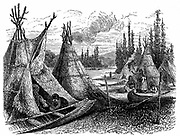 North America Indian encampment in Oklahoma Indian territory. Wood engraving published Paris 1889