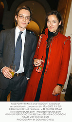 MISS POPPY FRASER and VISCOUNT ANSON at an exhibition in London on 6th May 2003.	PJI 268