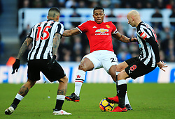 Luis Antonio Valencia of Manchester United challenges Jonjo Shelvey of Newcastle United - Mandatory by-line: Matt McNulty/JMP - 11/02/2018 - FOOTBALL - St James Park - Newcastle upon Tyne, England - Newcastle United v Manchester United - Premier League