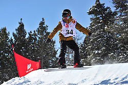 Snowboarder Cross Action, GONZALEZ FERNANDEZ Vic, ESP at the 2016 IPC Snowboard Europa Cup Finals and World Cup