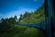 Blue train traveling from Ella to Kandy, Sri Lanka, Asia