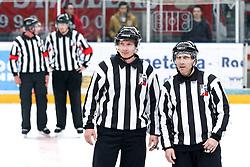 Linesman Gregor Rojko and linesman Ales Lesnjak during ice hockey match between HDD SIJ Acroni Jesenice and HDD Telemach Olimpija in Final of Slovenian League 2015/2016, on April 7, 2016 in Podmezaklja, Jesenice, Slovenia. Photo By Matic Klansek Velej / Sportida