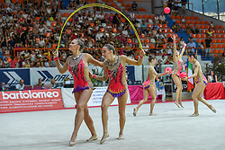 July 28, 2018 - Chieti, Abruzzo, Italy - Rhythmic gymnastics team of Germany performs its 3 ball 2 ropes routine during the Rhythmic Gymnastics pre World Championship Italy-Ukraine-Germany at Palatricalle on 29th of July 2018 in Chieti Italy. (Credit Image: © Franco Romano/NurPhoto via ZUMA Press)