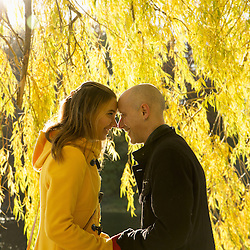 A young couple, nuzzling under a willow tree.