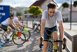 Sheyla Gutierrez (Cylance Pro Cycling) warms up for the 42,5 km team time trial of the UCI Women's World Tour's 2016 Crescent Vårgårda Team Time Trial on August 19, 2016 in Vårgårda, Sweden. (Photo by Sean Robinson/Velofocus)