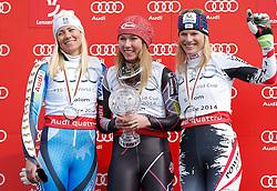 15.03.2014, Pista Silvano Beltrametti, Lenzerheide, SUI, FIS Weltcup Ski Alpin, Slalom, Damen, Finale, im Bild Frida Hansdotter (SWE), Mikaela Shiffrin (USA), Marlies Schild (AUT) // during ladies Slalom of FIS Ski Alpine World Cup finals at the Pista Silvano Beltrametti in Lenzerheide, Switzerland on 2014/03/15. EXPA Pictures © 2014, PhotoCredit: EXPA/ Freshfocus/ Christian Pfander<br /> <br /> *****ATTENTION - for AUT, SLO, CRO, SRB, BIH, MAZ only*****