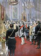 Swearing loyalty to the new Tsar, Nicholas II, in the Russian Church, Paris.  From 'Le Petit Journal', Paris, 18 November 1894.