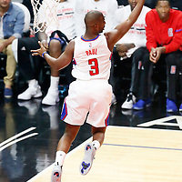 31 October 2016: Los Angeles Clippers guard Chris Paul (3) grabs a rebound during the Los Angeles Clippers 116-98 victory over the Phoenix Suns, at the Staples Center, Los Angeles, California, USA.