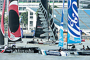 Alinghi, Emirates Team New Zealand and The Wave Muscat. Day four of the Extreme Sailing Series regatta being sailed in Singapore. 23/2/2014