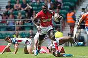 Twickenham, United Kingdom. 2nd June 2018, HSBC London Sevens Series. Collins INJERA, running in th Touch down,  for a try,  Game 7, Pool C. Kenya vs Uniter States, USA,  played at the  RFU Stadium, Twickenham, England, <br /> <br /> <br /> <br /> © Peter SPURRIER/Alamy Live News