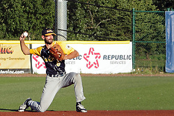 08 July 2017: Will Kengor during a Frontier League Baseball game between the Traverse City Beach Bums and the Normal CornBelters at Corn Crib Stadium on the campus of Heartland Community College in Normal Illinois