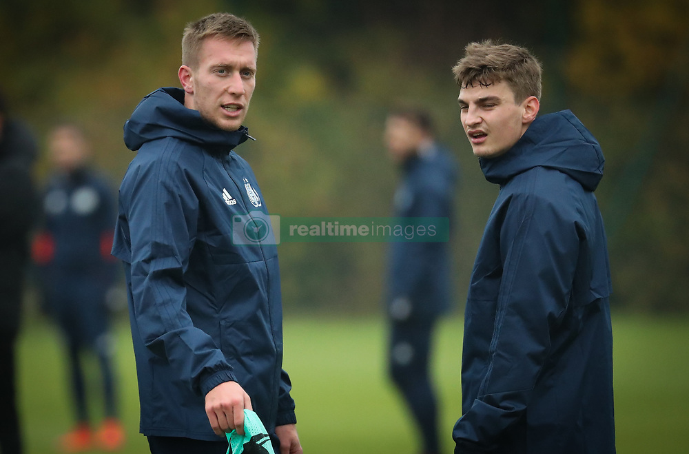 November 21, 2017 - Brussels, BELGIUM - Anderlecht's Robert Beric and Anderlecht's Pieter Gerkens pictured during a training of Belgian soccer team RSC Anderlecht, Tuesday 21 November 2017 in Brussels. Tomorrow Anderlecht is playing a game in the group stage (Group B) of the UEFA Champions League competition against German Bayern Munich. BELGA PHOTO VIRGINIE LEFOUR (Credit Image: © Virginie Lefour/Belga via ZUMA Press)