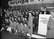 Aer Lingus Young Scientist Exhibition..1986..10.01.1986..01.10.1986..10th January 1986..The annual Aer Lingus,sponsored,Young Scientists Exhibition was held at the RDS,Ballsbridge,Dublin.The Overall winners of the competition were Ms Breda Maguire and Ms Niamh Mulvany..They are students at The Rosary College,Raheny,Dublin. The Tanaiste, Mr Dick Spring TD was on hand to present the awards...Picture shoes the Tanaiste,Mr Dick Spring TD, taking his place among The Young Scientist Award winners. The podium is flanked by two Aer Lingus Air Hostesses.