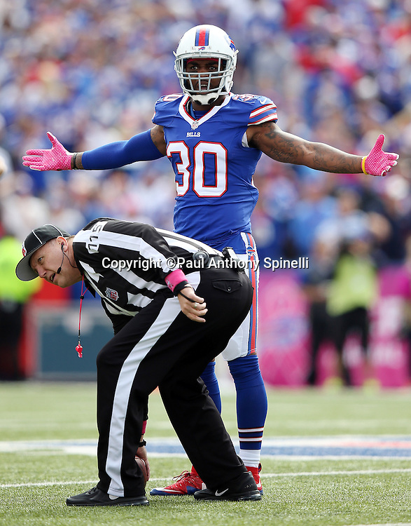 Buffalo Bills strong safety Bacarri Rambo (30) waves his arms as he questions a penalty call during the 2015 NFL week 4 regular season football game against the New York Giants on Sunday, Oct. 4, 2015 in Orchard Park, N.Y. The Giants won the game 24-10. (©Paul Anthony Spinelli)