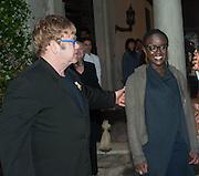 SIR ELTON JOHN; Lynette Yiadom-Boakye; VICTOR PINCHUK, British artist Lynette Yiadom-Boakye, preview of Pinchuk Foundation's Future Generation Art Prize,     Palazzo Contarini PolignacVenice. Venice Bienalle. Thursday 30 May).
