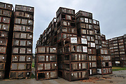Stacked Agricultural packing crates in a packing plant in Metula, Israel