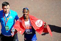 Mo Farah UK at the Finish<br /> The Virgin Money London Marathon 2014<br /> 13 April 2014<br /> Photo: Javier Garcia/Virgin Money London Marathon<br /> media@london-marathon.co.uk