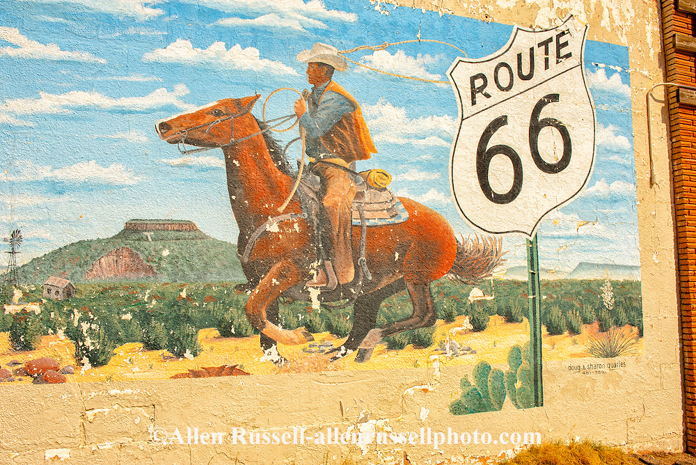 Historic Route 66, Tucumcari, New Mexico, mural, cowboy