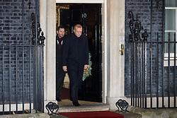 London, UK. 3 December, 2019. Turkish President Recep Tayyip Erdoğan leaves 10 Downing Street following a meeting with French President Emmanuel Macron hosted by Prime Minister Boris Johnson and German Chancellor Angela Merkel to discuss the ongoing dispute between the two Presidents following the Turkish invasion of Kurdish-controlled areas of northern Syria.