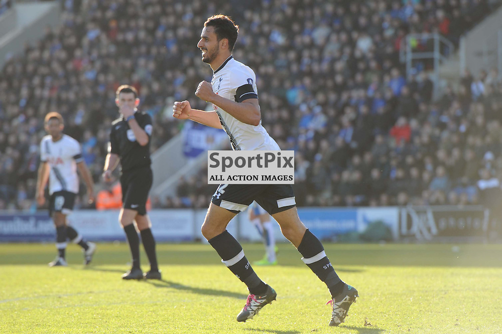 Tottenhams Nacer Chadil scores his sides third goal during the Colchester v Tottenham game in the FA Cup 4th Round on the 30th January 2016.