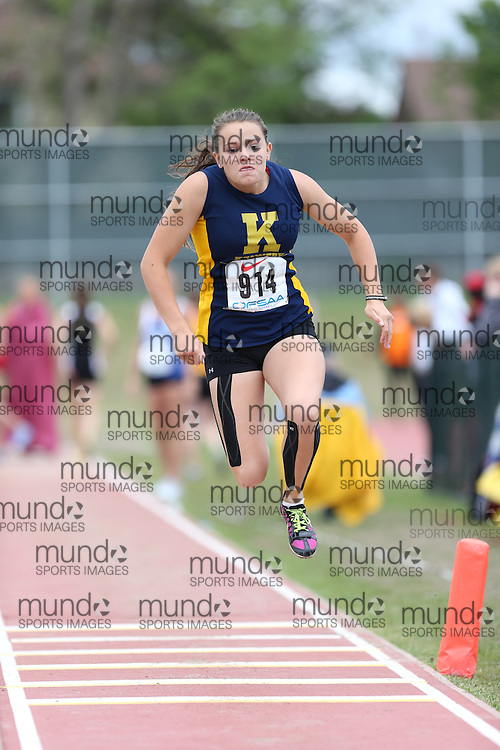 Julie Radford of Hon W. C. Kennedy CI - Windsor competes in the midget girls triple jump at the 2013 OFSAA Track and Field Championship in Oshawa Ontario, Thursday,  June 6, 2013.<br /> Mundo Sport Images / Sean Burges