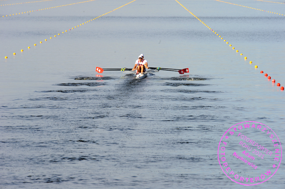 (BOW) ANDRE VONARBURG AND (STROKE) FLORIAN STOFER (BOTH SWITZERLAND) COMPETE IN THE MEN'S DOUBLE SCULLS RACE DURING REGATTA EUROPEAN ROWING CHAMPIONSHIPS IN BREST, BELARUS...BREST , BELARUS , SEPTEMBER 18, 2009..( PHOTO BY ADAM NURKIEWICZ / MEDIASPORT )..PICTURE ALSO AVAIBLE IN RAW OR TIFF FORMAT ON SPECIAL REQUEST.