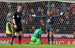 STOKE-ON-TRENT, ENGLAND - Saturday, April 30, 2016: Sunderland's goalkeeper Vito Mannone looks dejected as Stoke City score the opening goal during the FA Premier League match at the Britannia Stadium. (Pic by David Rawcliffe/Propaganda)