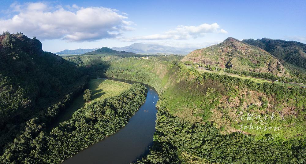 Aerial panorama photograph of kayakers on the Wailua River, Kauai, Hawaii