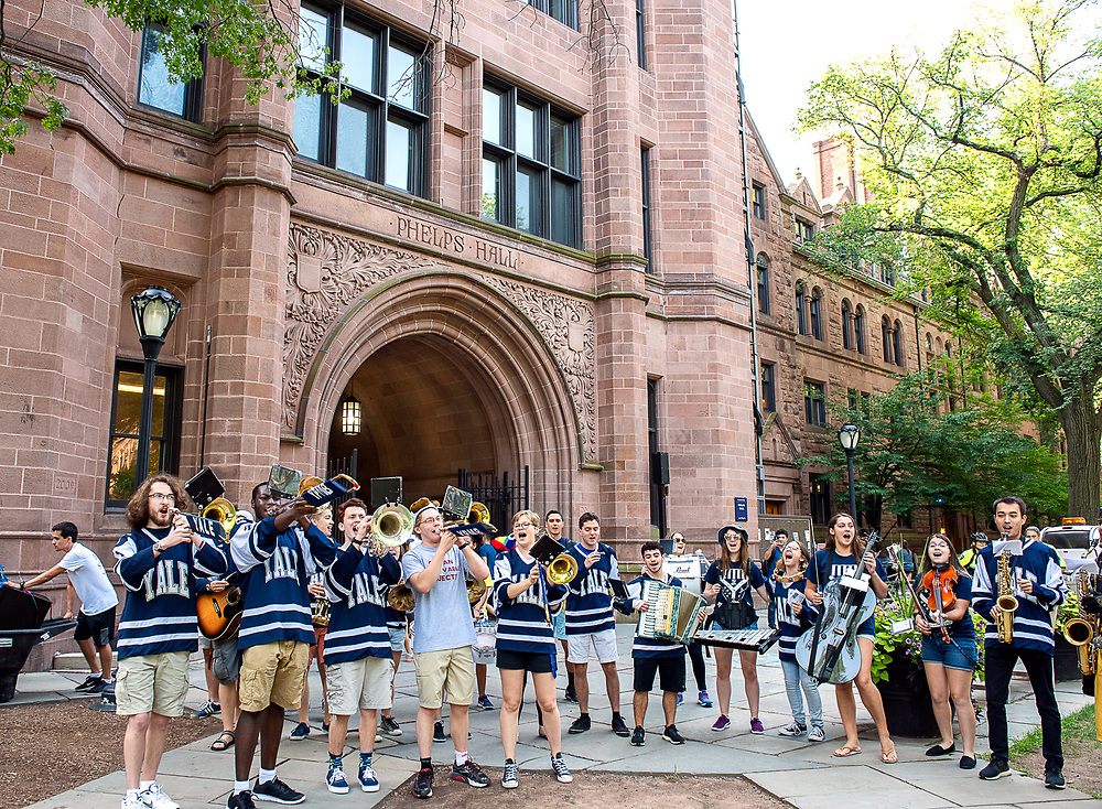 Photography ©Mara Lavitt<br /> August 24, 2018<br /> <br /> First-year-student move-in day at Yale. Yale Band in front of Phelps Gate.