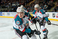 KELOWNA, CANADA - FEBRUARY 22: Braydyn Chizen #22 and Devante Stephens #21 of the Kelowna Rockets skates against the Edmonton Oil Kings on February 22, 2017 at Prospera Place in Kelowna, British Columbia, Canada.  (Photo by Marissa Baecker/Shoot the Breeze)  *** Local Caption ***