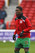 Bristol City striker Kieran Agard warms up during the Sky Bet Championship match between Nottingham Forest and Bristol City at the City Ground, Nottingham, England on 27 February 2016. Photo by Jon Hobley.