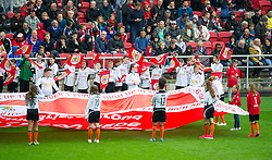 Junior players from Portishead Town FC carry flags at Ashton Gate Stadium ahead of Bristol City v Nottingham Forest - Mandatory by-line: Paul Knight/JMP - 01/10/2016 - FOOTBALL - Ashton Gate Stadium - Bristol, England - Bristol City v Nottingham Forest - Sky Bet Championship