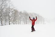 Josh Dirksen, first day in Niseko, Japan, enjoying the promise of heavily falling snow while exploring Hanazono resort.