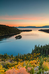 """Emerald Bay in Autumn 3"" - Sunrise photograph of fall foliage above Emerald Bay, Lake Tahoe."