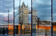 Glass panels of the City Hall, Foster & Partners, 2002, Southbank, River Thames, London, UK, reflecting Tower Bridge, 1886-94, by architect Sir Horace Jones and engineer Sir John Wolfe Barry. Picture by Manuel Cohen.The use of this image may require further clearance / Merci de vous assurer que l'utilisation finale de l'image ne necessite pas d'autorisation supplementaire.