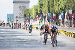 Tayler Wiles (USA) of Orica-AIS Cycling Team chases the break during the La Course, a 89 km road race in Paris on July 24, 2016 in France.