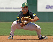 Baylor third basemen Kevin Russo fields a ground ball in the first inning against Kansas State.  K-State defeated the Baylor Bears 3-1 at Tointon Stadium in Manhattan, Kansas, May 20, 2006.