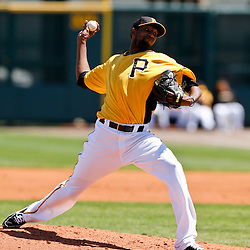 Mar 13, 2013; Bradenton, FL, USA; Pittsburgh Pirates starting pitcher James McDonald (53) throws against the Toronto Blue Jays during the top of the second inning of a spring training game at McKechnie Field. Mandatory Credit: Derick E. Hingle-USA TODAY Sports