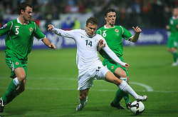 Zlatko Dedic (14) and Christopher Baird at the fourth round qualification game of 2010 FIFA WORLD CUP SOUTH AFRICA in Group 3 between Slovenia and Northern Ireland at Stadion Ljudski vrt, on October 11, 2008, in Maribor, Slovenia.  (Photo by Vid Ponikvar / Sportal Images)