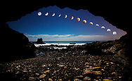 October 8, 2014 - 'Blood Moon' total lunar eclipse as viewed from Little Corona Beach, Newport Beach, California. Photo manipulation: wide angle images from timelapse by Joshua Morgan, moon progression close-ups by Foster Snell.
