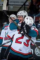 KELOWNA, CANADA - APRIL 25: Nick Merkley #10 hugs Reid Gardiner #23 of the Kelowna Rockets after a third period goal against the Seattle Thunderbirds on April 25, 2017 at Prospera Place in Kelowna, British Columbia, Canada.  (Photo by Marissa Baecker/Shoot the Breeze)  *** Local Caption ***