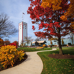 Photo of Frankfort Breidert Green Park and Frankfort Grainery in Autumn.  The Frankfort Grainery is a grain elevator and historic landmark in Frankfort Illinois a Southwestern suburb of Chicago. The photo is vertical, high resolution and was taken in 2009.