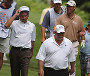 Jun 26, 2006; Gaylord MI; USA; Fred Couples (left), Craig Stadler (center) and Chris DiMarco (right) make their way up the fifth fairway during the final round of the ING Par-3 Shootout at Treetops Resort in Gaylord Michigan.