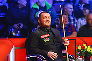 Mark Allen sits and smiles during the Snooker Players Championship Final at EventCity, Manchester, United Kingdom on 27 March 2016. Photo by Pete Burns.