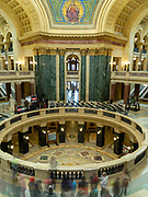School children on a tour. Interior view of the Wisconsin State Capitol Building, Madison, Wisconsin, USA.