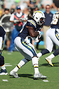 Los Angeles Chargers running back Melvin Gordon (28) runs the ball during the 2017 NFL week 1 preseason football game against the Seattle Seahawks, Sunday, Aug. 13, 2017 in Carson, Calif. The Seahawks won the game 48-17. (©Paul Anthony Spinelli)